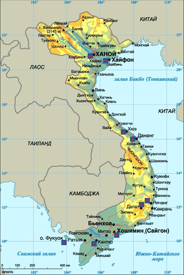 Вьетнам граничит со странами через реку
